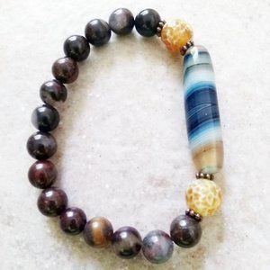 "Bold & Outstanding! Multi Color Agate Bracelet 7"""